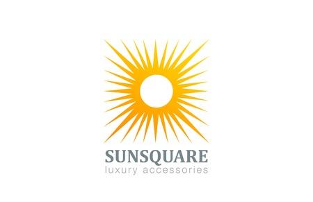 sole: Marchio di Sun Vintage forma quadrata modello di disegno vettoriale. Stella con raggi Logotype astratto concetto icona.