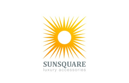 Sun Logo Vintage square shape design vector template.  Star with rays Logotype abstract concept icon. Illustration