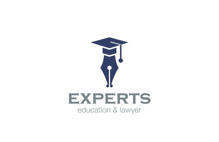 pen writing: Lawyer Education Logo design vector template.  Pen with Square Academic Hat logotype concept icon. Illustration
