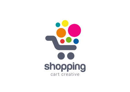 red retail: Shopping cart Logo design vector template concept icon.  Logotype for online store, mall, sale etc.