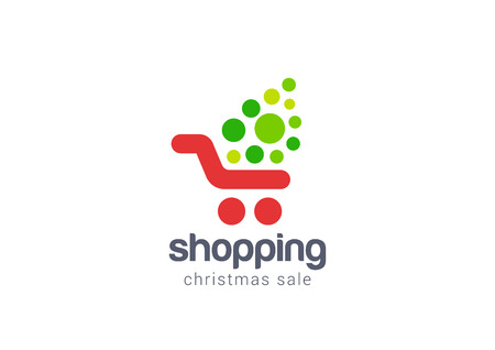 e shopping: Christmas Sale Shopping cart Logo design vector template concept icon.  Logotype for online store, mall, sale etc.