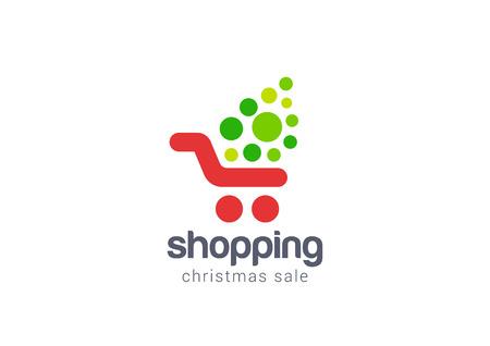carro supermercado: Venta de la Navidad Compras concepto de diseño de la plantilla de la compra Logo vector icono. Logotipo para tienda en línea, centro comercial, venta, etc.
