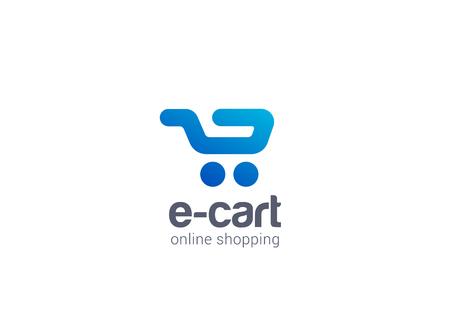 centro comercial: Internet Carrito de la compra Logo plantilla concepto de diseño vectorial icono. Logotipo para tienda en línea, centro comercial, venta, etc.
