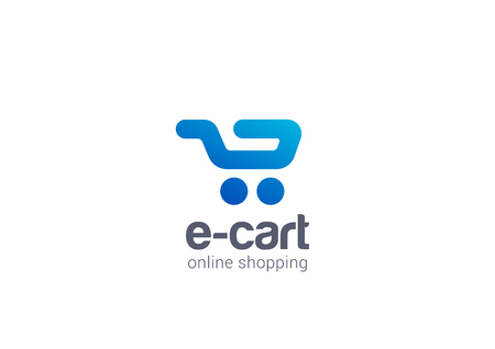 Internet Shopping cart Logo design vector template concept icon.  Logotype for online store, mall, sale etc. Illustration