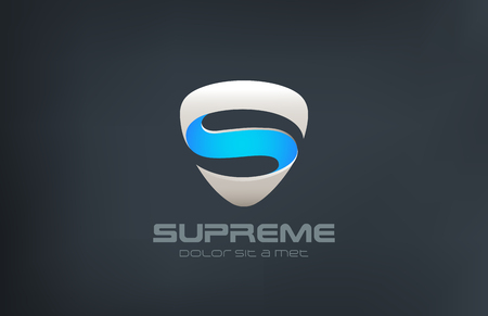 supreme: S logo Shield shape design vector template. Protect and defense concept.  Guardian Logotype ribbon icon.