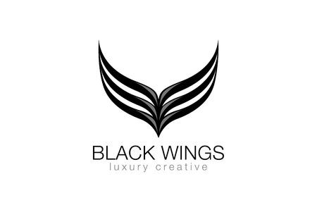 logos empresa: Alas negras elegantes como letra V Lujo Negocios Moda plantilla de diseño vectorial Logo. Abstracción icono concepto de logotipo.
