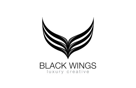 fashion illustration: Elegant Black Wings as V letter Luxury Abstract Business Fashion Logo design vector template.  Abstraction logotype concept icon. Illustration