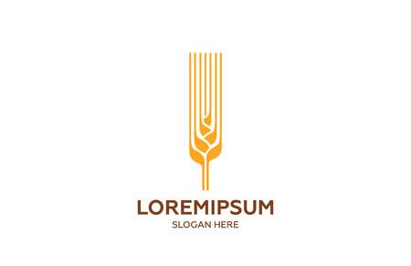 Ear of wheat Farm Bread Logo design vector template.  Agricultural Logotype concept for brewery, bakery, mill..