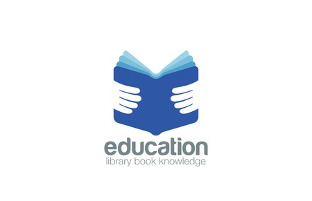 encyclopedia: Book in Hands Education Logo design vector template.  Library, book store, encyclopedia logotype concept icon.