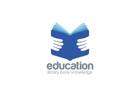 university sign: Book in Hands Education Logo design vector template.  Library, book store, encyclopedia logotype concept icon.