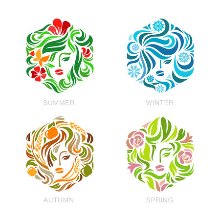 Beauty Fashion make up salon Logo floral Seasons concept vector design template.  Summer, Winter, Autumn, Spring woman logotype flourish hexagon shape icon. Çizim