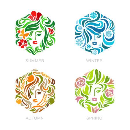 Beauty Fashion make up salon Logo floral Seasons concept vector design template. Summer, Winter, Autumn, Spring woman logotype flourish hexagon shape icon.