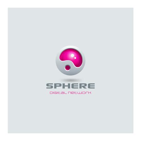 Plantilla esfera abstracta Logo medios futurista tecnología web de diseño vectorial. Ciencia ficción creativa estilo de alta tecnología icono del logotipo. Foto de archivo - 45457262