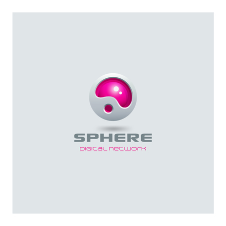 Sphere abstract futuristic Logo media web technology design vector template.  Sci-fi creative hitech style logotype icon.