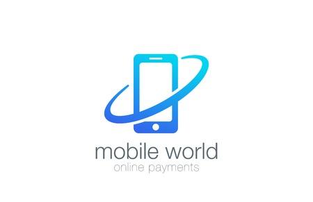 Smartphone Logo design Global theme vector template. Wireless Mobile phone logotype concept icon. 일러스트
