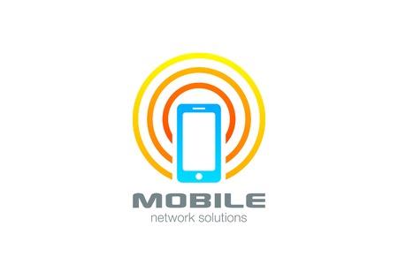 휴대 전화 로고 디자인 벡터 템플릿을 연결합니다. 무선 스마트 폰 로고 타입 개념 아이콘입니다. 일러스트