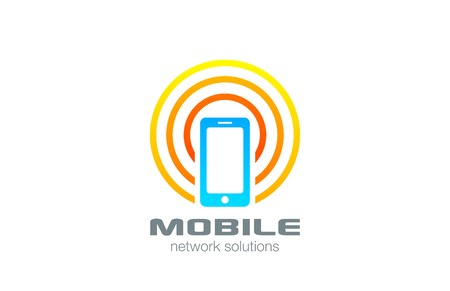 Mobile phone connected logo design vector template. Wireless smartphone logotype concept icon.