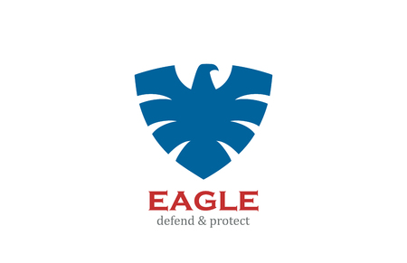 Eagle Shield shape Logo design vector template.  Defend, Protect, Law, Lawyer, Security heraldic logotype concept icon.