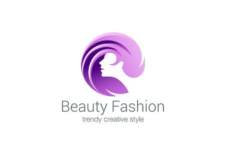 Beauty Fashion Spa Logo circle design vector template.  Haircut salon make up logotype concept icon. Çizim
