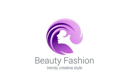 Beauty Fashion Spa Logo circle design vector template. Haircut salon make up logotype concept icon. Vettoriali