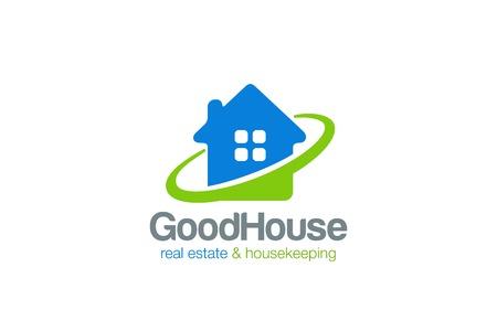 하우스 로고 부동산 및 청소 서비스 벡터 디자인 템플릿입니다. 부동산 및 가정부 로고 타입 아이콘 개념입니다. 일러스트