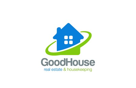housekeeper: House Logo Real Estate and Housekeeping service vector design template.  Realty and Housekeeper Logotype icon concept. Illustration