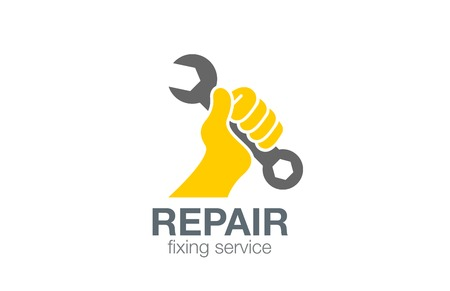 Hand holds Spanner Logo Repair concept vector design template. Fixing Logotype icon.