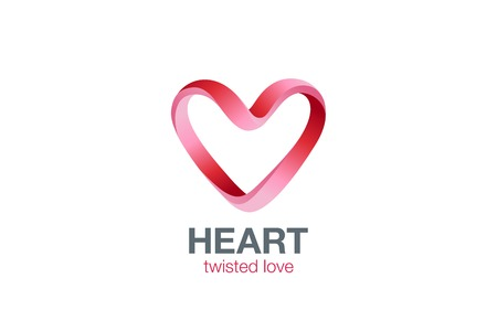 Heart shape Ribbon twisted Logo design vector template. St. Valentines day Love dating concept icon. Cardiology medical Logotype. Illustration