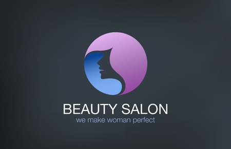 hair studio: Beauty Fashion  Haircut Salon Logo circle design vector template.  Hairdresser make up logotype concept icon.