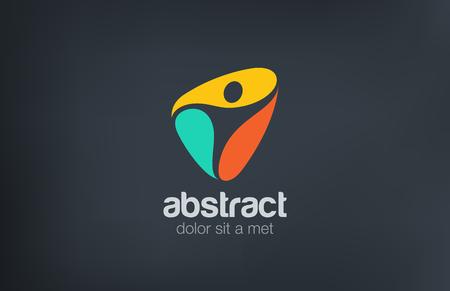 logo: Thể dục phòng tập thể dục thể thao Logo con người trừu tượng vector thiết kế mẫu. Active, Spa, chăm sóc sức khoẻ biểu tượng khái niệm logo.