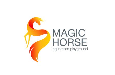 Fairy Horse Logo design vector template. Equestrian Logotype concept icon.