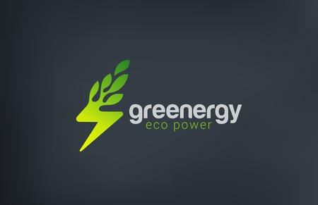 Green Eco Energy Logo design vector template. Flash as Plant ecology power logotype concept icon