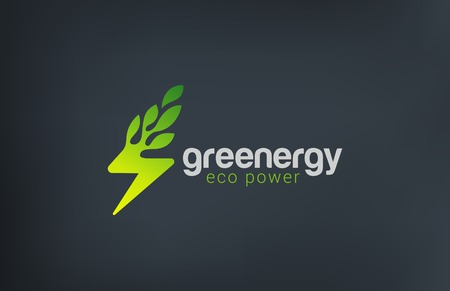 Green Eco Energy Logo design vector template.  Flash as Plant ecology power logotype concept icon