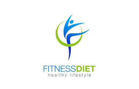 健身: 健身飲食健康的生活方式標誌設計矢量模板。體操與健康的營養觀念打印商標。女孩跳舞圖標。