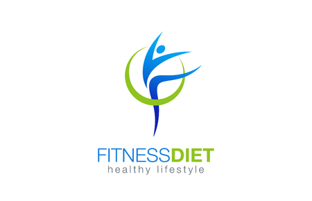 Fitness Diet Healthy Lifestyle Logo design vector template.  Gymnastic with health nutrition Logotype concept. Girl dancing icon. Stock Photo