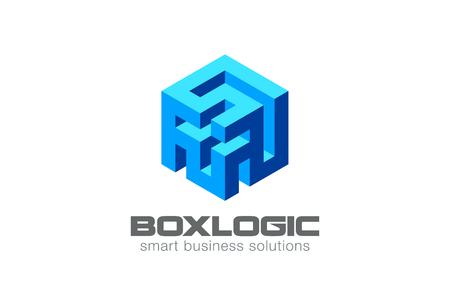 논리 퍼즐 미로 상자 로고 추상 디자인 벡터 템플릿. 크리 에이 티브 비즈니스 기술 로고 개념 아이콘입니다. 일러스트