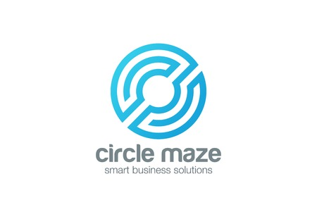 technology: Circle abstract Logo business logic design vector template.  Labyrinth maze as Letter O Logotype concept line art style icon.