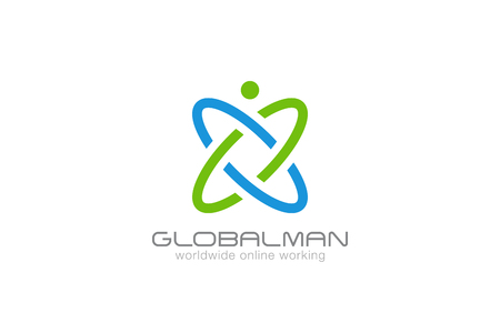 Digital Man Logo abstract design vector template. Dna, Molecule science technology Logotype. Global Business concept icon.