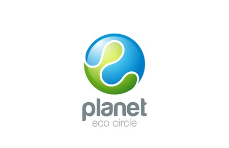 Logo Sphere abstract design vector template. Ecology Planet concept icon.