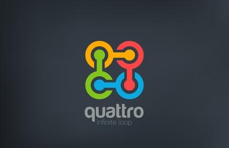 four elements: Cadena Logo Teamwork Social dise�o abstracto plantilla vectorial. Equipo, Amistad, Asociaci�n, icono concepto de red de logo. Vectores
