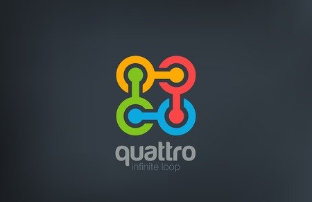 cuatro elementos: Cadena Logo Teamwork Social diseño abstracto plantilla vectorial. Equipo, Amistad, Asociación, icono concepto de red de logo. Vectores
