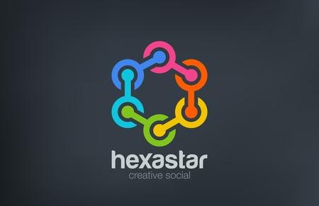 logo element: Hexagon Chain Social Logo abstract design vector template.  Team, Friendship, Partnership, Network Logotype concept icon.