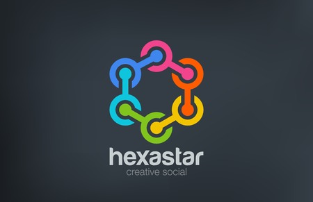 Hexagon Chain Social Logo abstract design vector template.