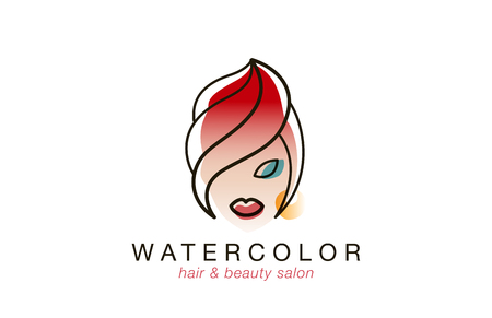 beauty woman face: Woman face Logo watercolor style for Beauty Spa Hair Salon vector design template.  Creative lineart style Fashion logotype. Illustration