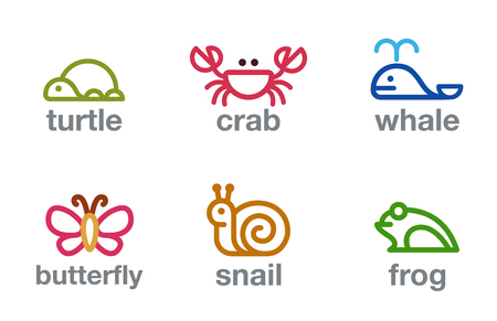 Lineart Animals Logos design vector templates set. Turtle, Crab, Whale, Butterfly Snail, Frog Logotype Colorful funny icons.