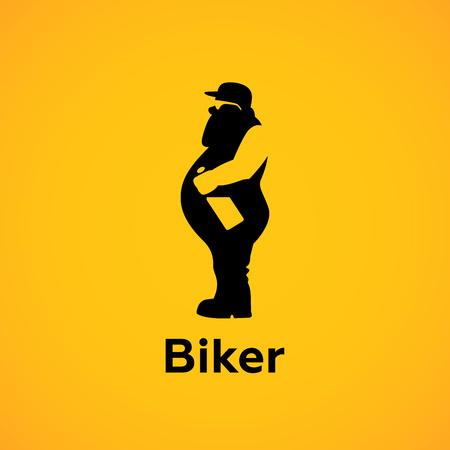 sideview: Biker with bottle sideview Silhouette Logo design vector template.  Avatar Logotype.