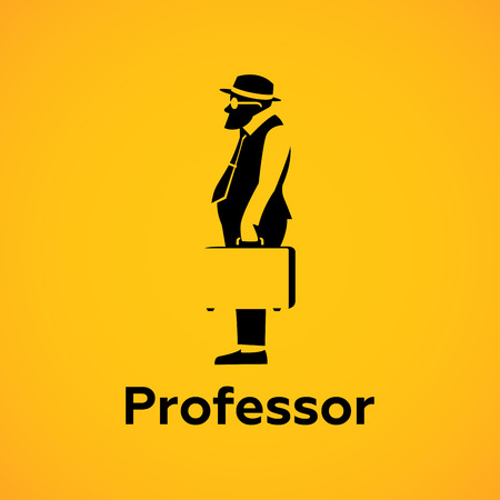 sideview: Professor sideview Silhouette Logo design vector template.  Avatar Logotype.