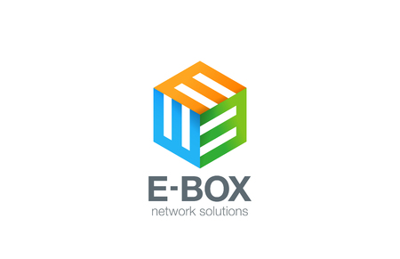 e business: Box Logo Abstract Business Technology design vector template.  Colorful Logotype letter E concept icon.