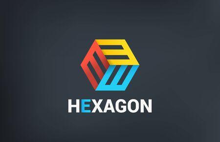 Hexagon Logo Abstract Business Technology design vector template.  Colorful Logotype letter E concept icon.
