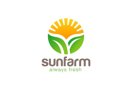 leaf logo: Sun over Plant Logo Farm circle shape design vector template.  Fresh Eco food Logotype concept. Farm Products shop icon.